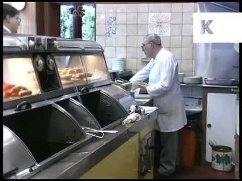 Mid 1990s UK Fish And Chip Shop, Unhealthy Food, Archive Footage