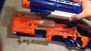 BM NERF #22. Roughcut mod guide and Laser Gnomes auto trigger, masterkey mount