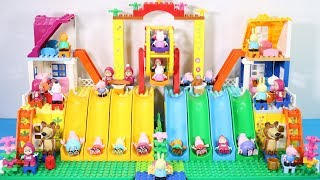 Peppa Pig Lego House With Water Slide Toys - Lego House Creations Toys For Kids