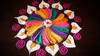 Easy Flower Rangoli Design using fork Kitchen utensil Flowers |  Easy Rangoli Designs Using Fork