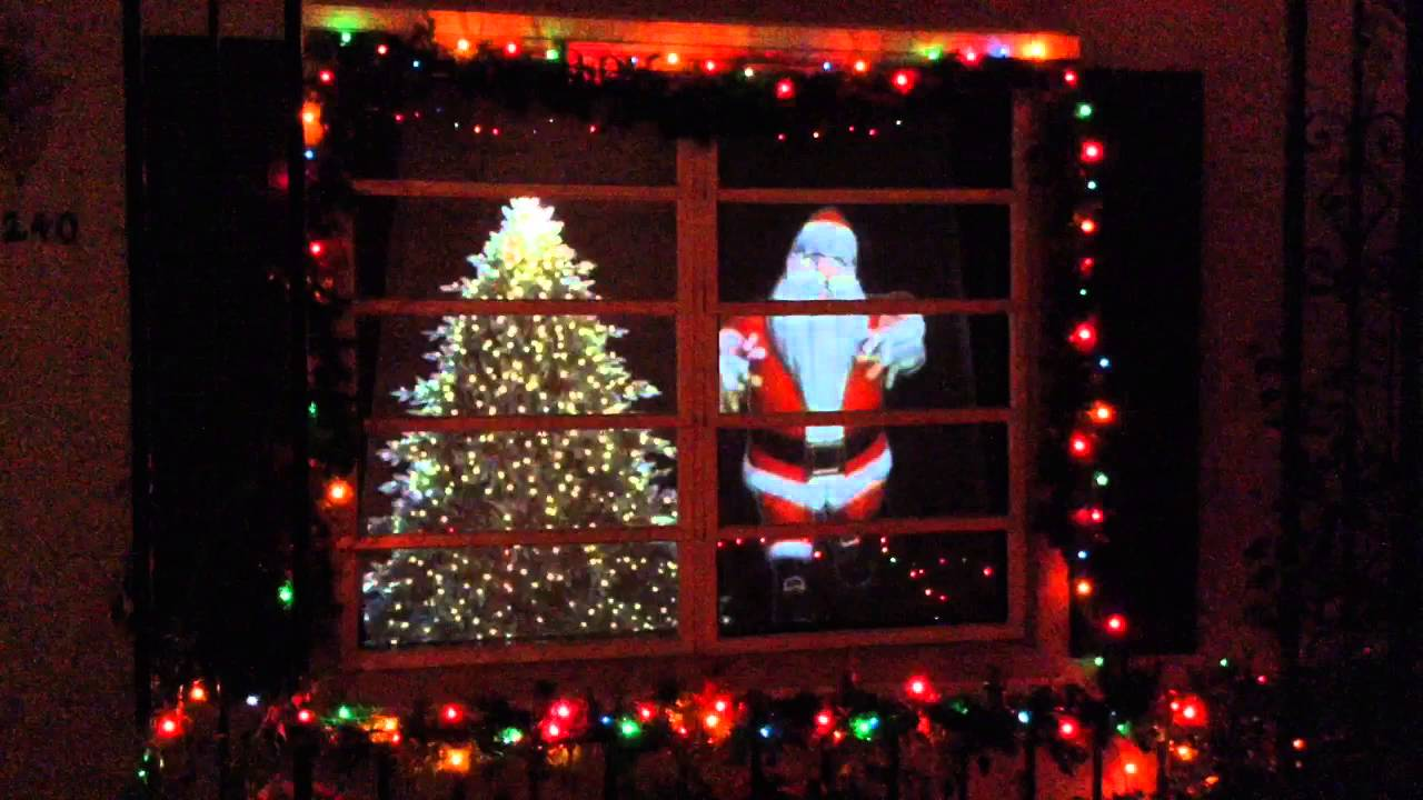 christmas window santa a video projection display - Christmas Light Up Window Decorations