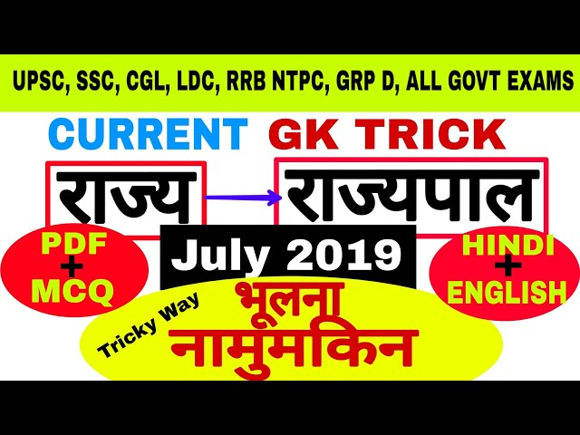 New Governors 2019 Trick | Current Affairs | Gk in Hindi + English