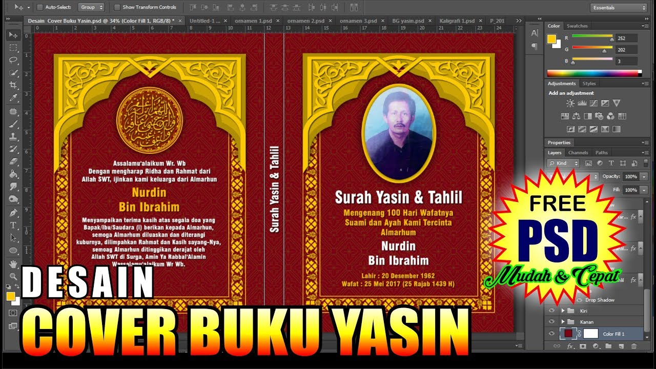 Cara Desain Cover Buku Yasin Dengan Photoshop Tutorial Photoshop