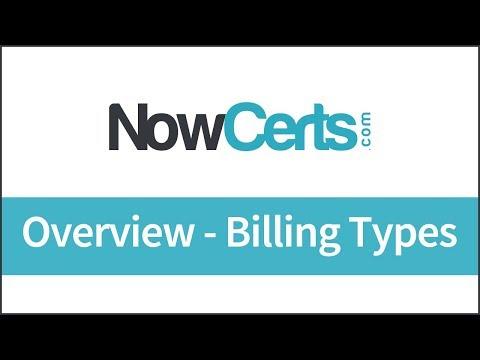 NowCerts Billing, Part 1 - Overview - Billing Types