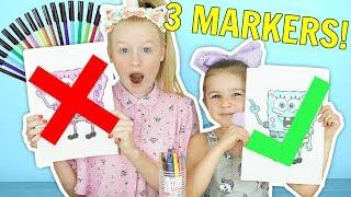 3 MARKER CHALLENGE! w/ Spongebob, Peppa Pig & Boss Baby