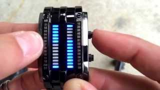 Blue Binary Luminous LED Electronic Display Sport Waterproof Watch