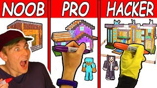 DRAWING Minecraft Houses (NOOB vs PRO vs HACKER) Family House Coloring Page Challenge