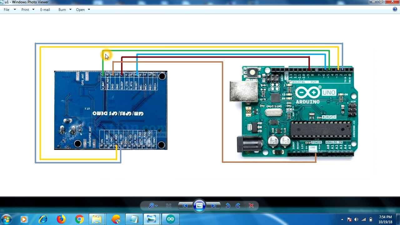 Connection Diagram of A7 GSM/GPS/GPRS and Arduino UNO with code for response