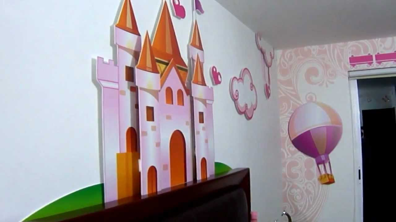 Decoraci n en rec mara para ni a youtube for Decoracion para pared de recamara