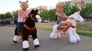 Plimbare cu Calutul si Unicornul Alb PonyCycle