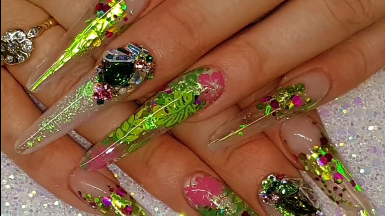 Tropical, Extreme Length, Russian Almond Acrylic Nails, Part 2 - YouTube
