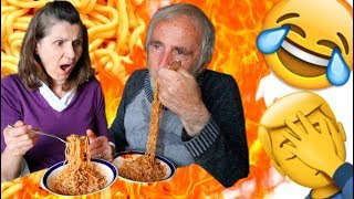GRANDPARENTS TRY X2 NUCLEAR FIRE NOODLE CHALLENGE *HILARIOUS