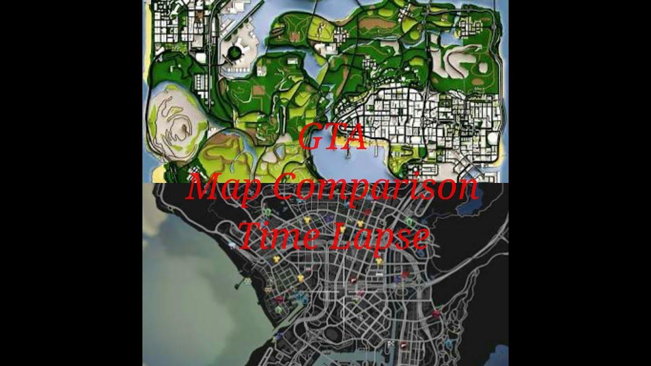 Gta San Andreas Vs Gta V Map Comparison Time Lapse
