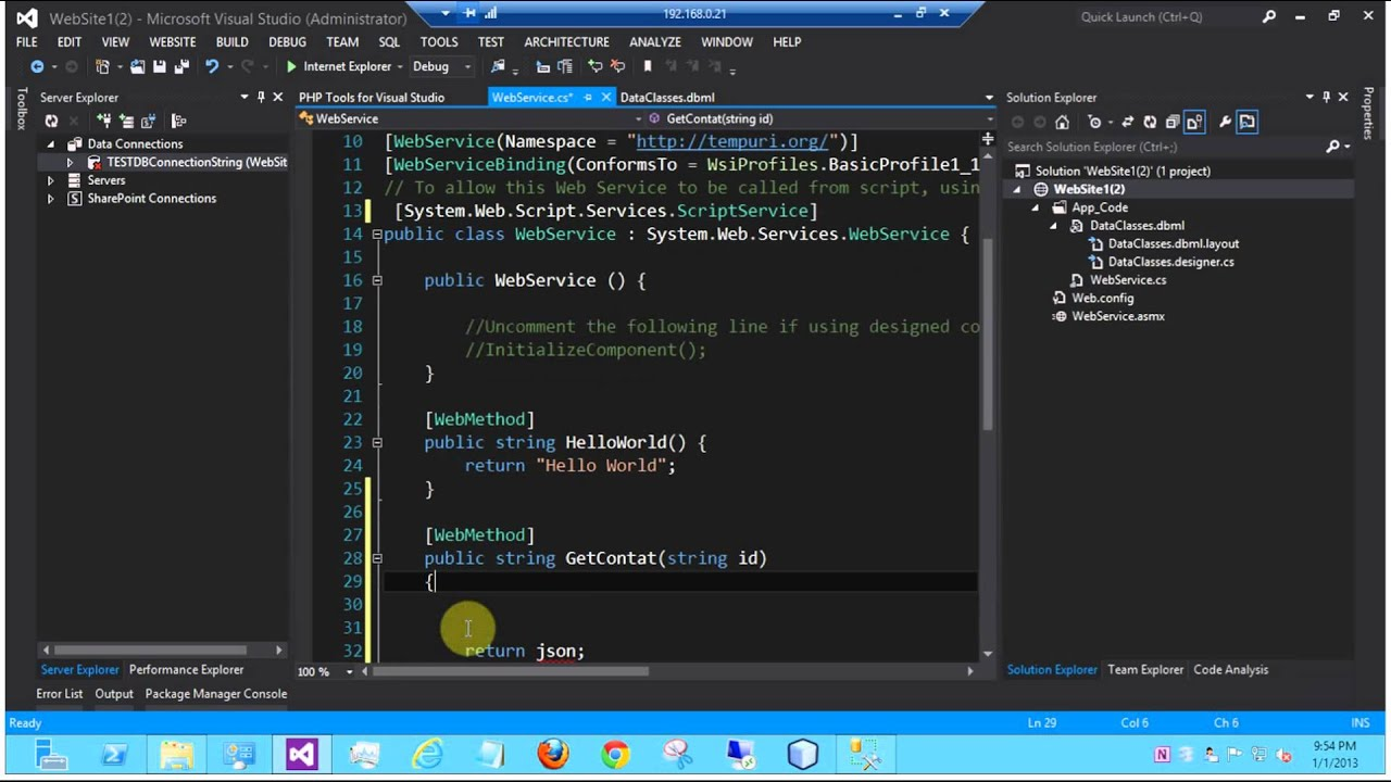 C# Visual Studio 2012 SOAP / REST Web Service - JSON