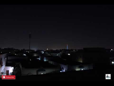 Times Laps at night Aspire Tower Qatar Dhoha, Torch Doha, Khalifa Sports Tower , Olympic Tower.
