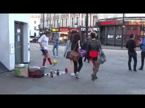 Amazing Trick Football Skills demonstrated by Hristo Petkov on Camden Market High Street, London.
