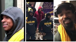 Lebron james,Isaiah Thomas and other Cleveland cavaliers in New York City riding the subway