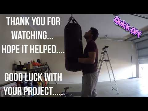 Hanging a boxing bag in garage- Quick DIY