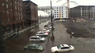 Portland Oregon flooding in NW Pearl District in December