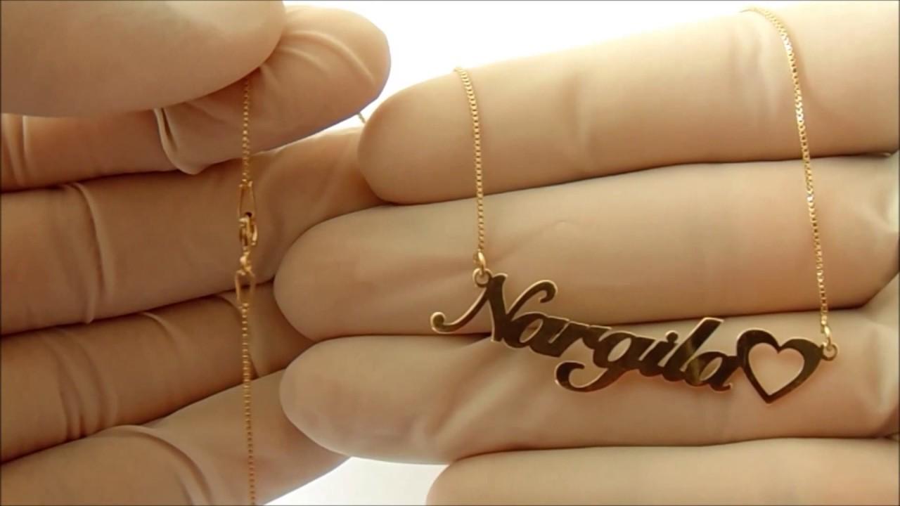 Gargantilha Cordão Com Nome feminino Personalizado em Prata  Banhado Folheado a Ouro. Studio Gold Joias 7bac343e0e