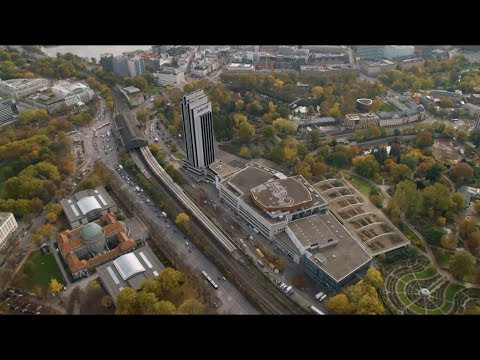 Aerial video of Hamburg Messe, venue for 2017 G20 Summit