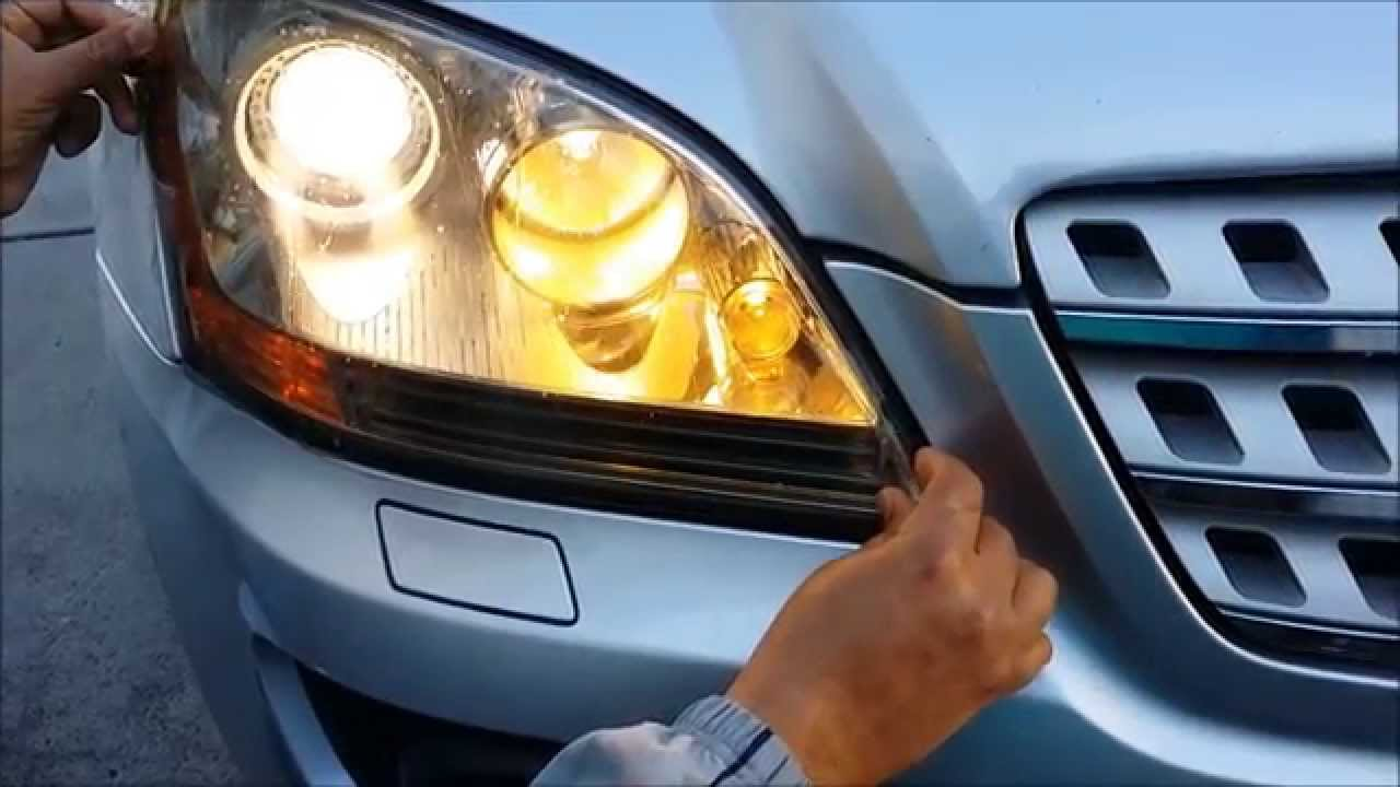 How to tint smoke front headlights for mercedes w164 for Mercedes benz ml350 headlight bulb