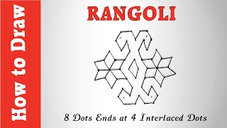 How to Draw Rangoli : 8 Dots Ends at 4 Interlaced Dots