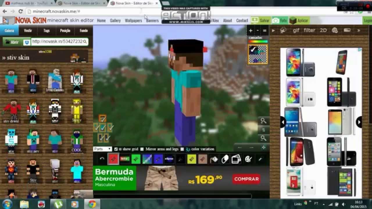 Como Fazer Um Hedset Um Boné E Um Ocúlos Na Sua Skin De Minecraft - Criar skin para minecraft pc