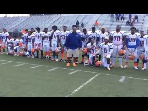 Nottingham High School football players kneel during national anthem vs. Proctor