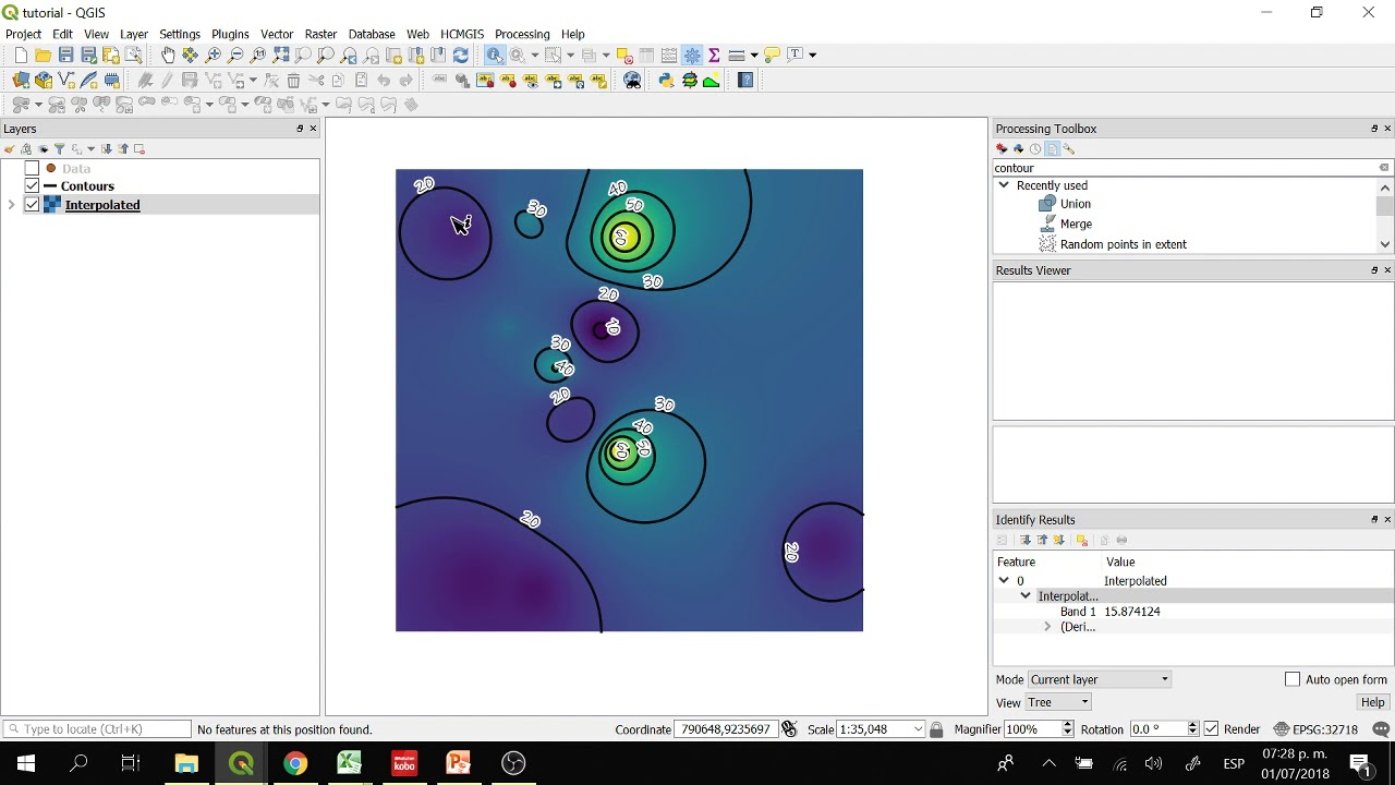 How to visualize water quality data in QGIS 3? From points to raster to  contour lines - Tutorial