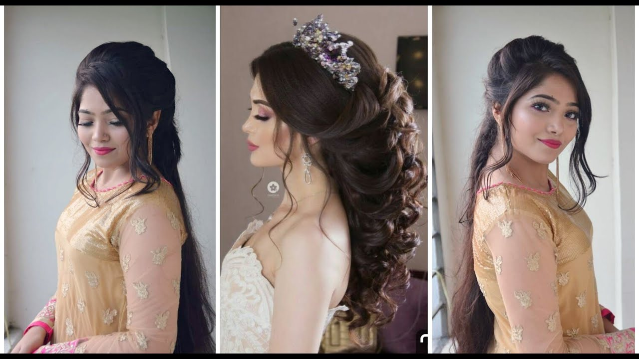 BEAUTIFUL Messy PUFF Hairstyle with GOWN / Dress  Party Hairstyle for  Medium Hair