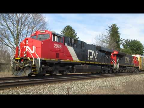 GE Evolution diesel engines running in 4400 HP locomotives CN 2988, 3031 at Vicksburg, MI