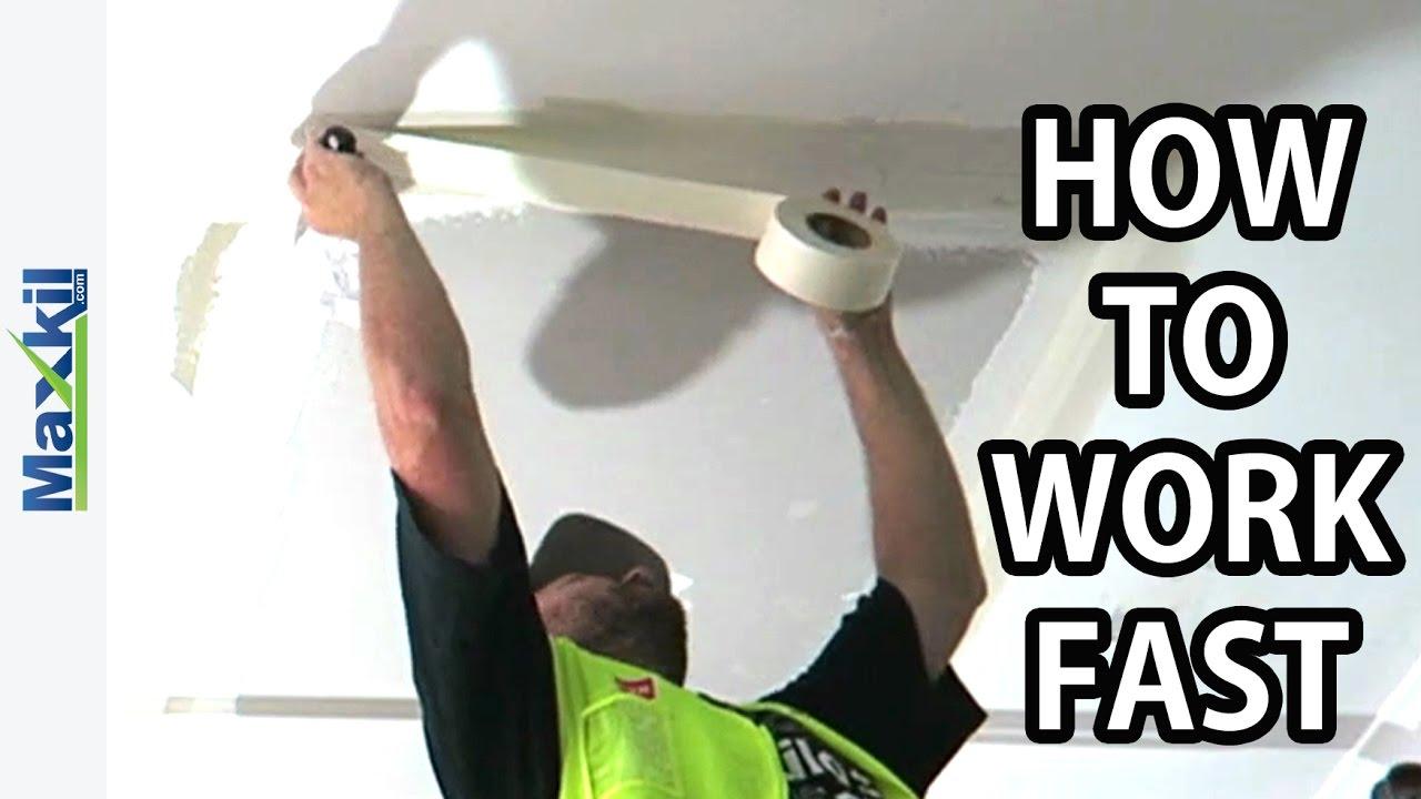Repair Water Damaged Ceilings setting drywall paper tape
