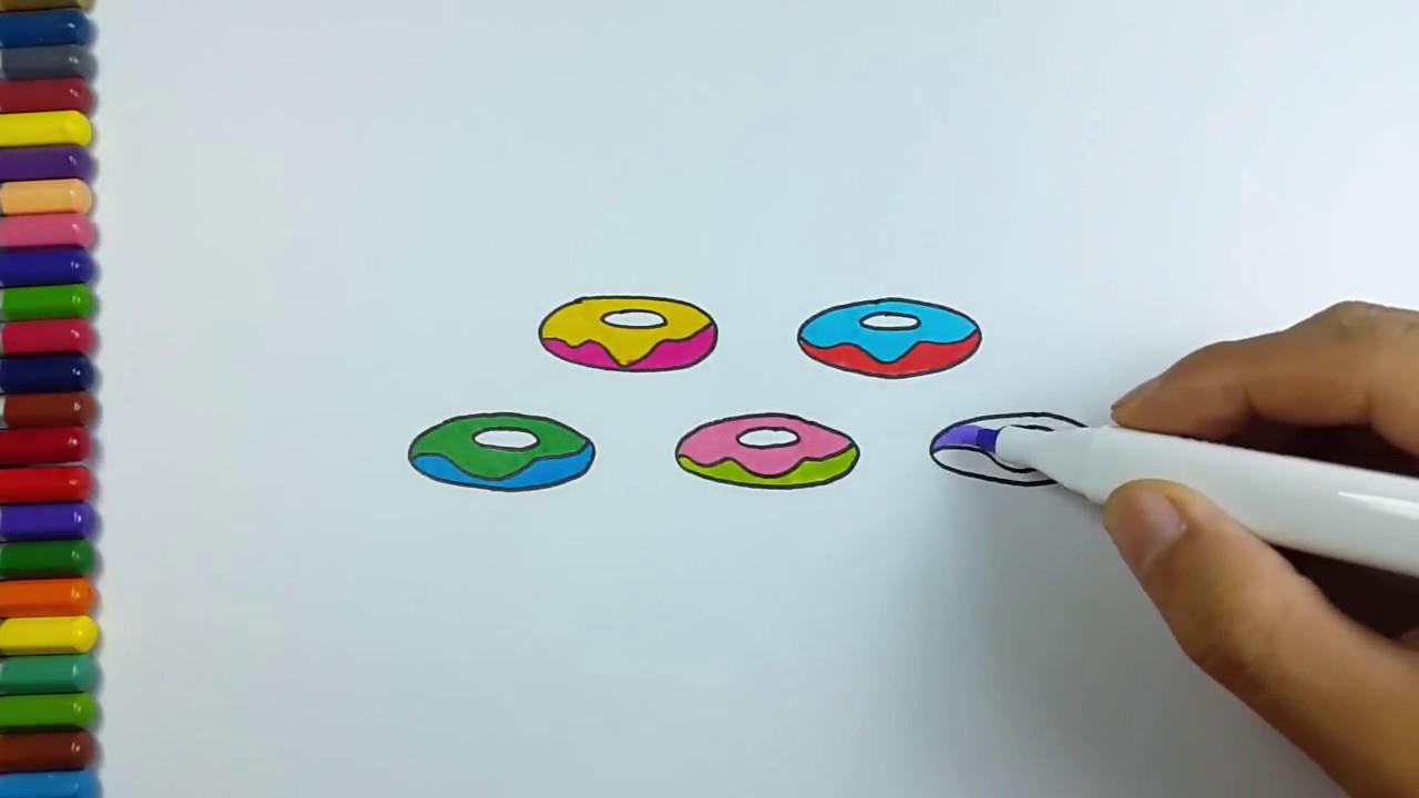 Cara Menggambar Mewarnai Donat Draw Colorful Donuts Youtube