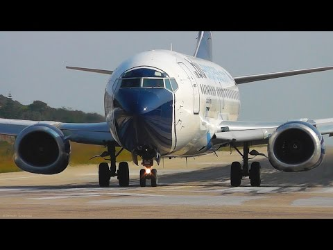 Boeing 737-300 Takeoff Jetblast Pushes Motorcycle! Skiathos, the Second St Maarten Plane Spotting