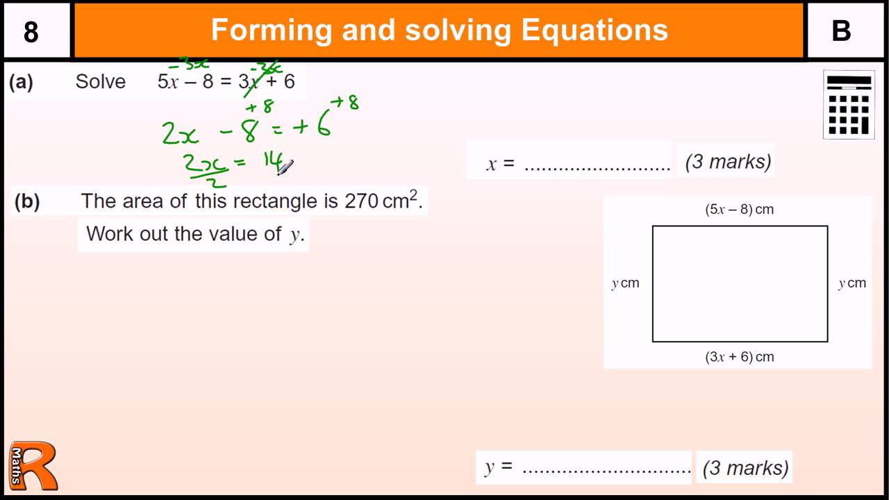 Forming and Solving Equations GCSE Maths revision Exam paper practice & help