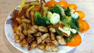 Курица с жареной картошкой и овощми. Мамулины рецепты.