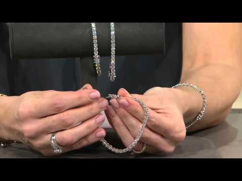 Diamonique Simulated Diamond Tennis Bracelet Platinum Clad on QVC
