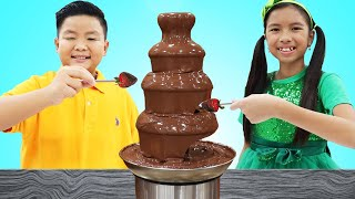 Wendy and Alex Pretend Play Chocolate Challenge Birthday Party Surprise Food Toys