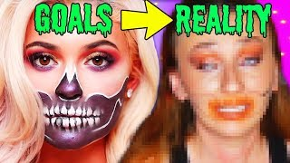 Following James Charles Doing Kylie Jenner's Halloween Makeup *SISTER SCARY FAIL lol*