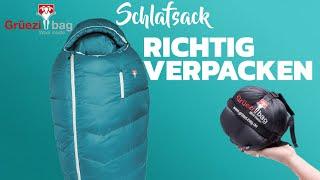 Wie packt man einen Schlafsack richtig ein? - Schulungsvideo von Grüezi bag