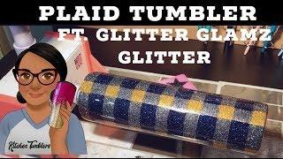 Plaid Tumbler Featuring Glitter Glamz Glitter