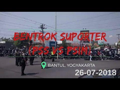 KERUSUHAN SUPORTER PSIM vs PSS TEREKAM KAMERA AMATIR WARGA II BANTUL(26-07-2018)