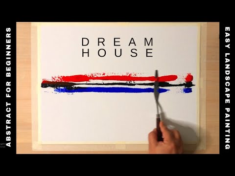 How to paint Dream House Landscape /Easy Abstract Painting for Beginners/Art ASMR/#14