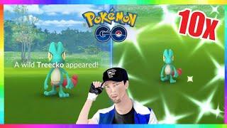 10x SHINY TREECKO CAUGHT During COMMUNITY DAY in Pokemon Go!