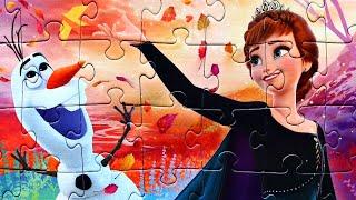 Холодное сердце 2 Принцесса Анна и снеговик Олаф собираем пазлы для детей с героями мультика Frozen