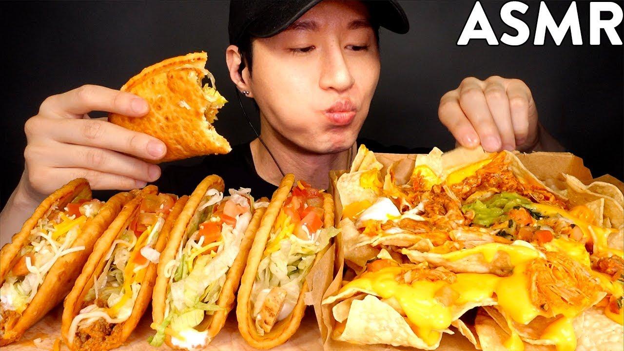 ASMR GRANDE NACHOS BOX & CHALUPA MUKBANG (No Talking) EATING SOUNDS | Zach Choi ASMR