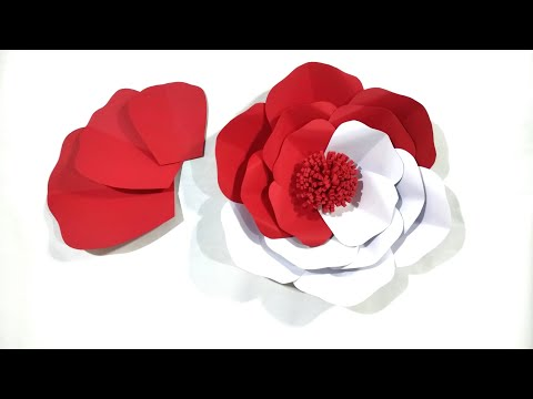Hiasan Dekorasi 17 agustus dari Kertas|Cara Membuat Paper Flower Backdrop|Bunga Kertas Merah Putih