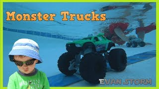 Monster Trucks the Movie Play in the Pool With Evan Storm
