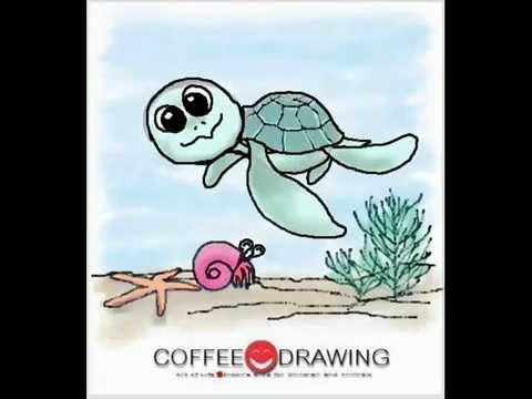 [how to draw Sea Turtle] สอนเด็กวาดรูปการ์ตูน เต่าทะเล ตามขั้นตอนง่ายๆ [by coffee-drawing]